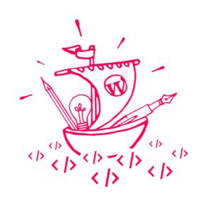 Sigle de WP Paris dessiné par Thomas Villain : Crayons et ampoule navigant sur une mer de code (ou Merde de code si c'est un thème themeforest !)